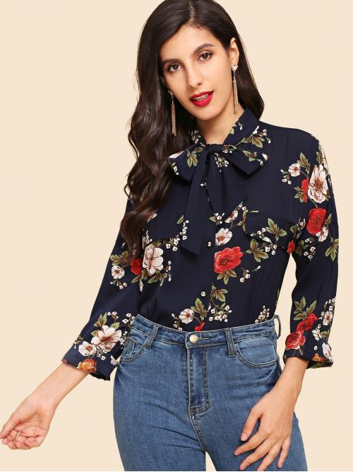 Pretty Long Sleeve Top Knot Polyester Blouse
