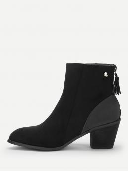 Business Casual Other Almond Toe Plain Back zipper Black Mid Heel Chunky Tassel Detail Block Heeled Ankle Boots