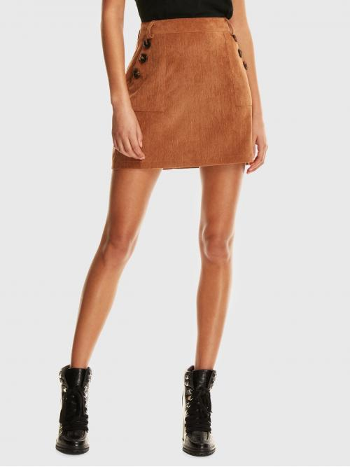 Elegant A Line Plain High Waist Brown Above Knee/Short Length Buttoned Pocket Cord Skirt