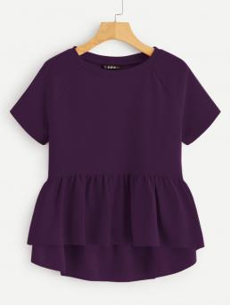 Cute Plain Flared Peplum Regular Fit Round Neck Short Sleeve Pullovers Purple Regular Length Solid Raglan Sleeve Peplum Top
