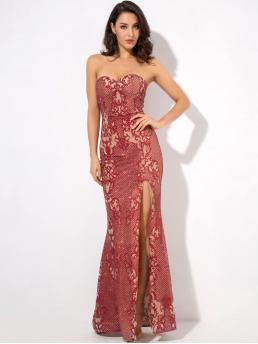 Glamorous and Sexy Bodycon Slit Slim Fit Strapless Sleeveless High Waist Red Maxi Length LOVE&LEMONADE Split Thigh Sequin Maxi Tube Dress with Chest Pad with Lining