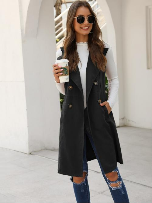 Casual Vest Plain Regular Fit Waterfall Sleeveless Double Breasted Black Midi Length Double Button Pocket Side Vest Coat