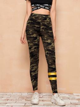Ladies Multicolor Regular Camo Long Gold Stripe Print Leggings