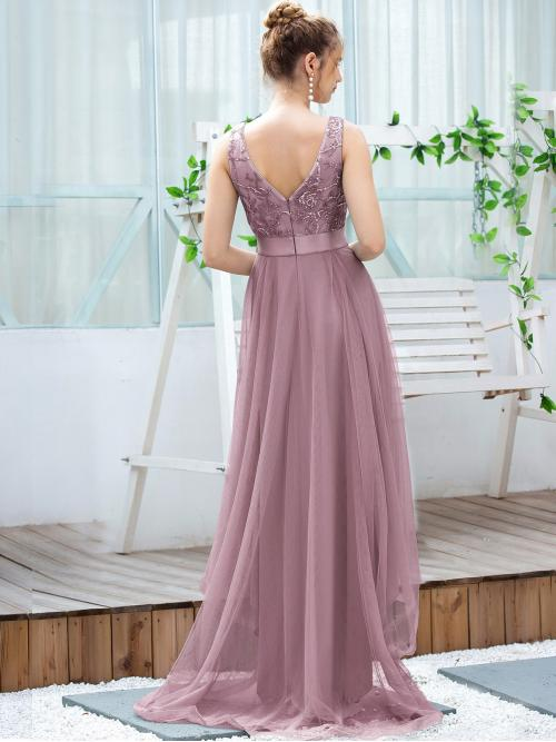 Dusty Pink Plain Zipper V Neck Sequin Embroidered Floral Prom Dress Fashion