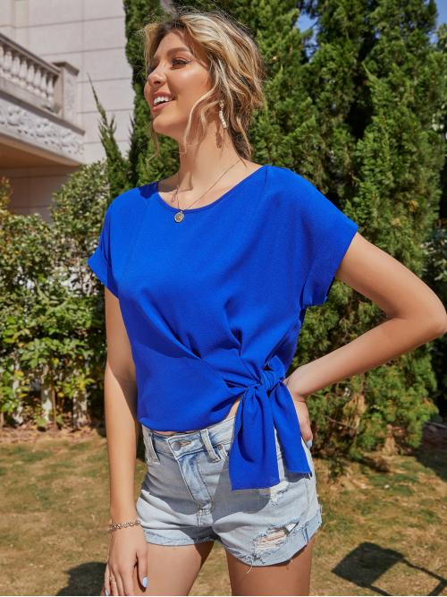 Pretty Short Sleeve Top Knot Polyester Side Blouse
