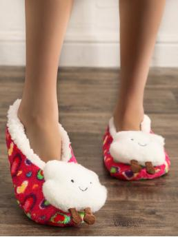 Red Novelty Slippers Round Toe Faux Fur Fuzzy Cartoon Decor on Sale
