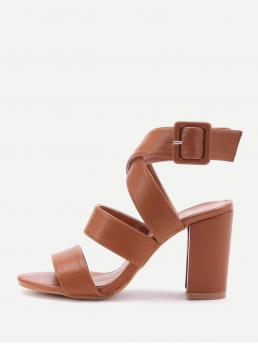 Trending now Corduroy Brown Strappy Sandals Studded Pu Criss Cross Block Heels with Buckle