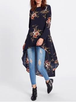Casual Floral Tunic Regular Fit Round Neck Long Sleeve Navy Flower Print Dip Hem Longline Trapeze Top