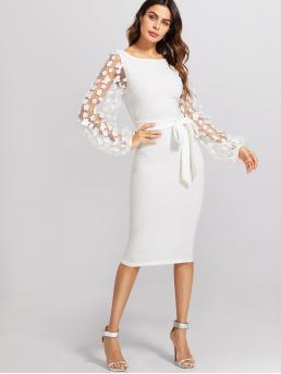 Elegant Bodycon Plain Slim Fit Boat Neck Long Sleeve Bishop Sleeve Natural White Midi Length 3D Applique Mesh Sleeve Self Tie Dress with Belt