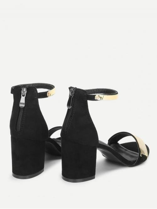 Corduroy Black Mules Bow Two Part Metallic Heeled Sandals Clearance
