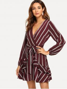 Elegant A Line Striped Regular Fit Deep V Neck Long Sleeve Bishop Sleeve Natural Burgundy Short Length Ruffle Trim Striped Self Tie Waist Dress with Belt