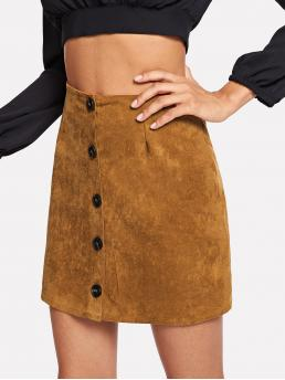 Camel Natural Waist Button Straight Single Breasted Solid Cheap