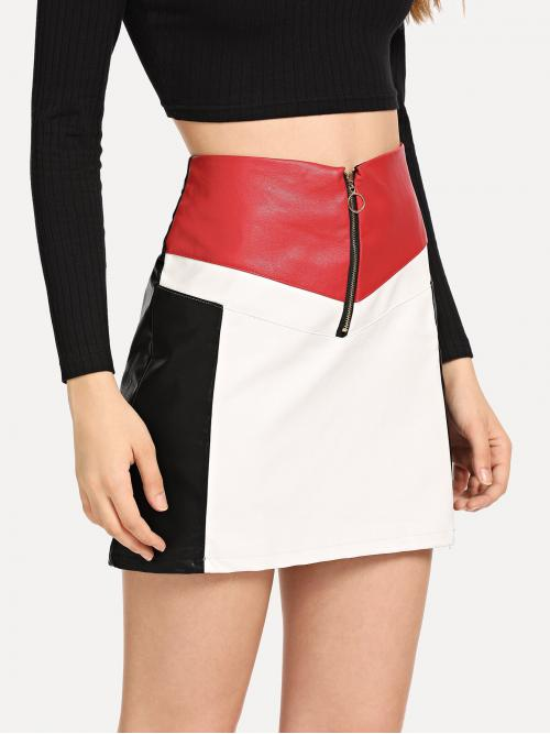 Glamorous A Line Colorblock Mid Waist Multicolor Above Knee/Short Length Zip Up Front Color Block Skirt
