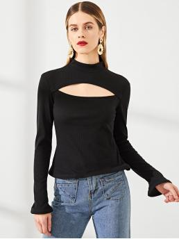 Discount Long Sleeve Cami Cut out Polyester Open Front Mock Neck Solid Tee