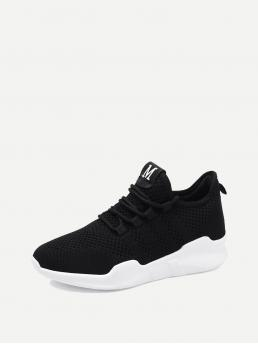 Comfort Round Toe Lace Up Black Lace Up Front Knit Sneakers
