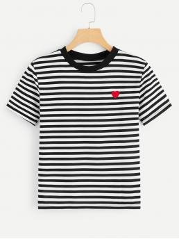 Casual Striped Regular Fit Round Neck Short Sleeve Pullovers Black and White Regular Length Heart Pattern Striped Tee