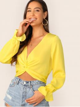 Casual Plain Top Regular Fit V neck Long Sleeve Pullovers Yellow and Bright Crop Length Twist Front Flounce Sleeve Crop Top