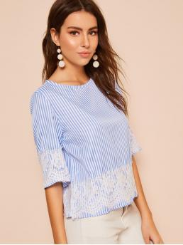 Casual Striped Top Regular Fit Round Neck Half Sleeve Regular Sleeve Pullovers Blue Regular Length Contrast Lace Striped Blouse