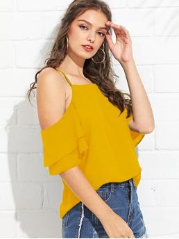 Boho Top Plain Regular Fit Cold Shoulder and Spaghetti Strap Half Sleeve Pullovers Yellow Regular Length Cold Shoulder Layered Sleeve Top