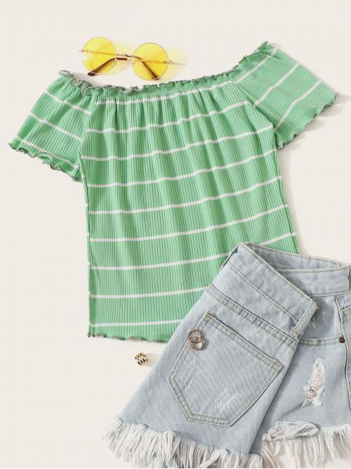 Sexy Striped Slim Fit Off the Shoulder Short Sleeve Pullovers Green and Pastel Regular Length Lettuce Trim Rib-knit Striped Top