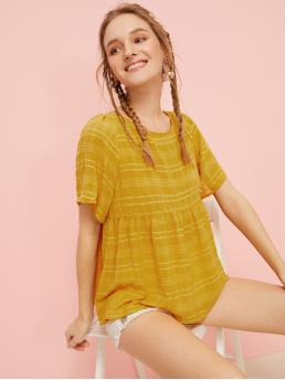 Cute Plaid Top Regular Fit Round Neck Short Sleeve Pullovers Yellow Regular Length Knot Back Striped Smock Blouse