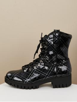 Comfort Lace-up Boots Round Toe Plaid No zipper Black Mid Heel Patent PU Plaid Lace Up Lug Sole Hiker Boots