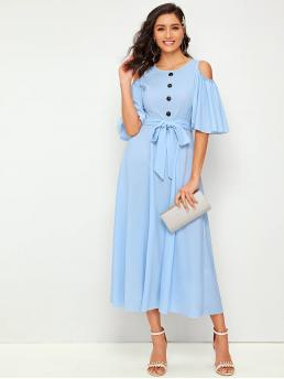 Elegant A Line Plain Straight Regular Fit Round Neck Half Sleeve High Waist Blue and Pastel Long Length Frill Trim Cloak Sleeve Button Detail Belted Dress with Belt