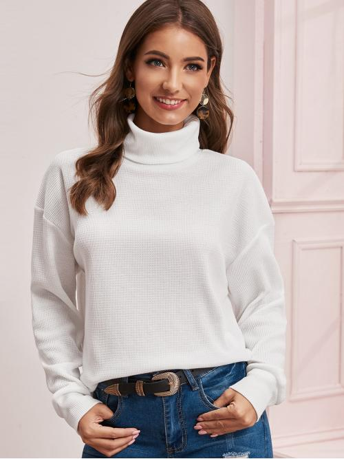 Casual Plain Regular Fit Funnel Neck Long Sleeve Regular Sleeve Pullovers White Regular Length Turtle Neck Drop Shoulder Pullover