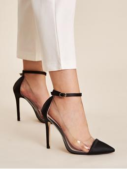Glamorous Plain Ankle Strap Black High Heel Stiletto Point Toe Ankle Strap Stiletto Heels
