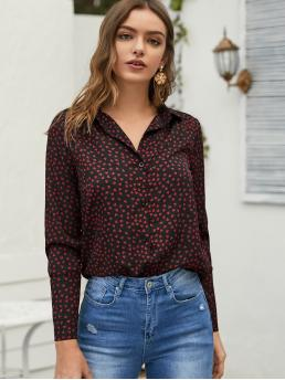Casual Heart Shirt Regular Fit Collar Long Sleeve Regular Sleeve Placket Multicolor Regular Length Heart Confetti Button Through Blouse