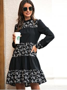 Casual A Line Ditsy Floral Flounce Regular Fit Stand Collar Long Sleeve Regular Sleeve High Waist Black Short Length Ditsy Floral Frill Trim A-line Dress