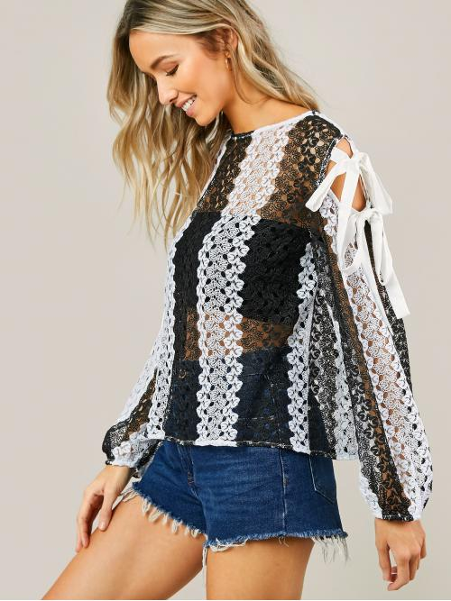 Womens Long Sleeve Top Sheer Lace Cut out Tie Sleeve Two Tone Top Without Bandeau