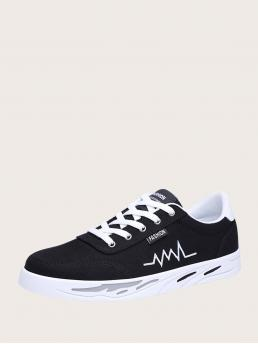 Womens Black Round Toe Canvas Rubber Men Front Electrocardiogram Graphic Sneakers