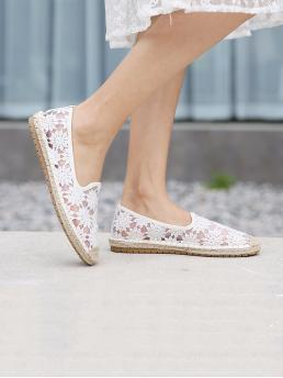 Clearance White Ballet Round Toe Cotton Blends Flower Pattern Flats