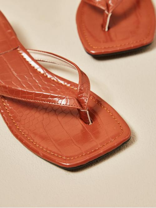 Brown Thong Sandals Low Heel Chunky Heeled Thong Sandals Sale