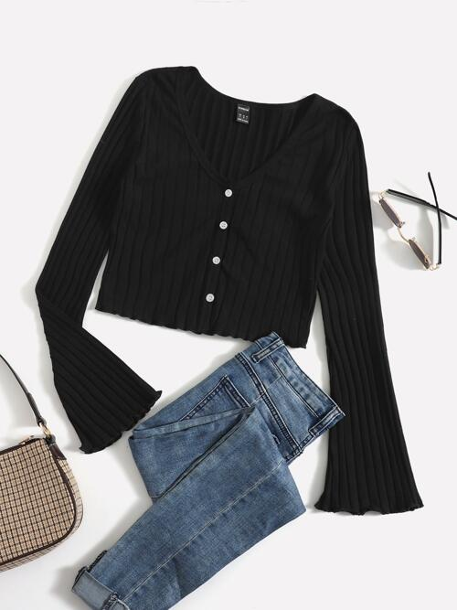 Long Sleeve Button Front Cotton Plain Ribbed Knit Lettuce Trim Tee Shopping