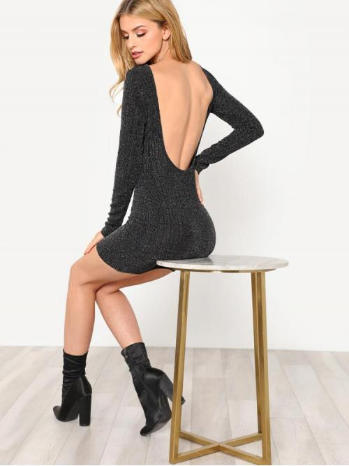 Women's Black Plain Backless Boat Neck U Back Glitter Bodycon Dress