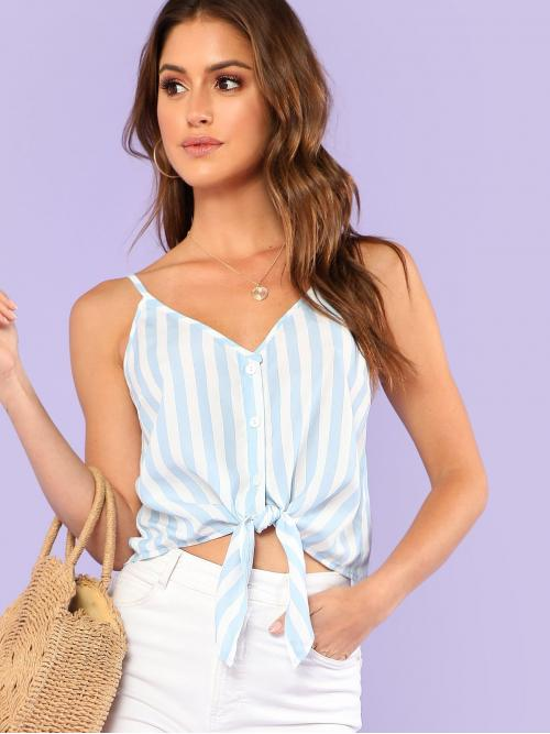 Boho Cami Striped Regular Fit Spaghetti Strap and V neck Blue Crop Length Button Placket Knot Front Cami Top