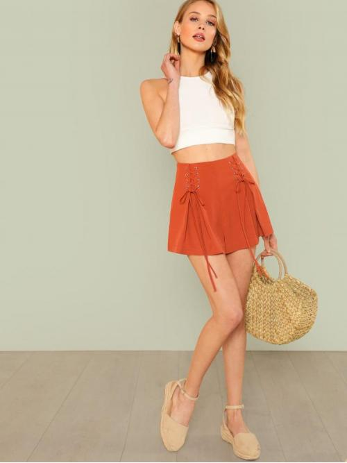 Beautiful Red Natural Waist Lace up Straight Leg Grommet Side Pleated Shorts