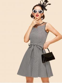 Vintage A Line Houndstooth Loose Round Neck Sleeveless Natural Black and White Midi Length Houndstooth Contrast Mesh Belted Dress