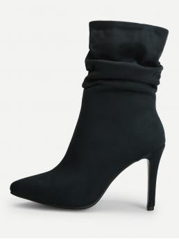 Other Side zipper Navy High Heel Stiletto Point Toe Ruched Stiletto Ankle Boots
