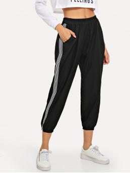 Pretty Black Natural Waist Drawstring Sweatpants Stripe Side Sweatpants