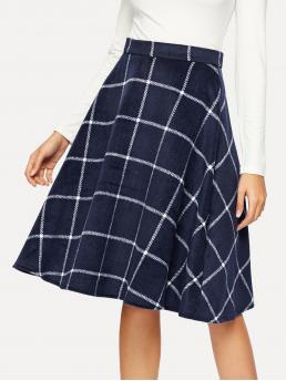 Casual Flared Plaid Mid Waist Navy Midi Length Grid Print Flare Skirt
