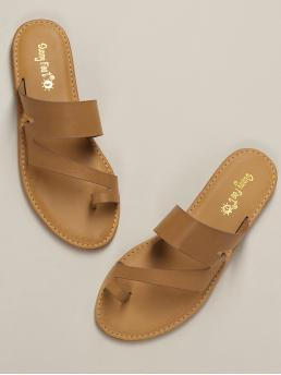 Boho Toe Post Plain Brown One Sided Toe Ring Slip On Flat Sandals