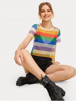 Sexy Striped Regular Fit Round Neck Short Sleeve Pullovers Multicolor Crop Length Striped Fishnet Sheer Tee