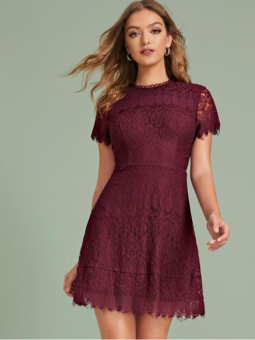Elegant A Line Plain Flared Regular Fit Round Neck Short Sleeve Regular Sleeve High Waist Burgundy Short Length Zip Back Raw Trim Lace Dress with Lining