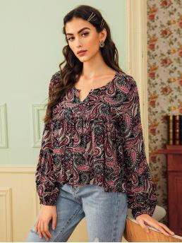 Boho Paisley and Tribal Peplum Regular Fit Notched Long Sleeve Bishop Sleeve Pullovers Multicolor Regular Length Paisley Print Notch Neck Blouse