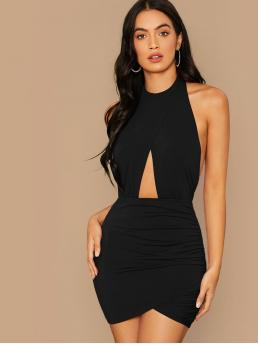 Sexy Bodycon Plain Pencil Slim Fit Stand Collar Sleeveless High Waist Black Mini Length Open Back Cut Out Front Ruched Bodycon Halter Dress