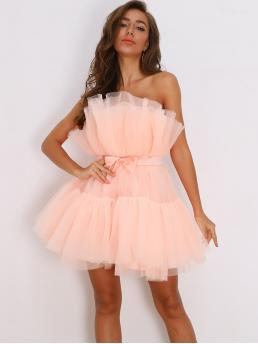 Beautiful Baby Pink Plain Bow Strapless Front Layered Tube Tulle Dress