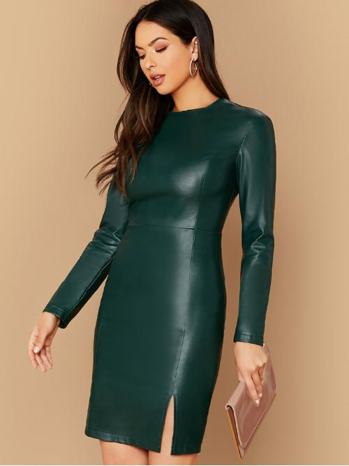 Elegant Fitted Plain Pencil Regular Fit Round Neck Long Sleeve Regular Sleeve High Waist Green Midi Length Split Hem PU Leather Dress